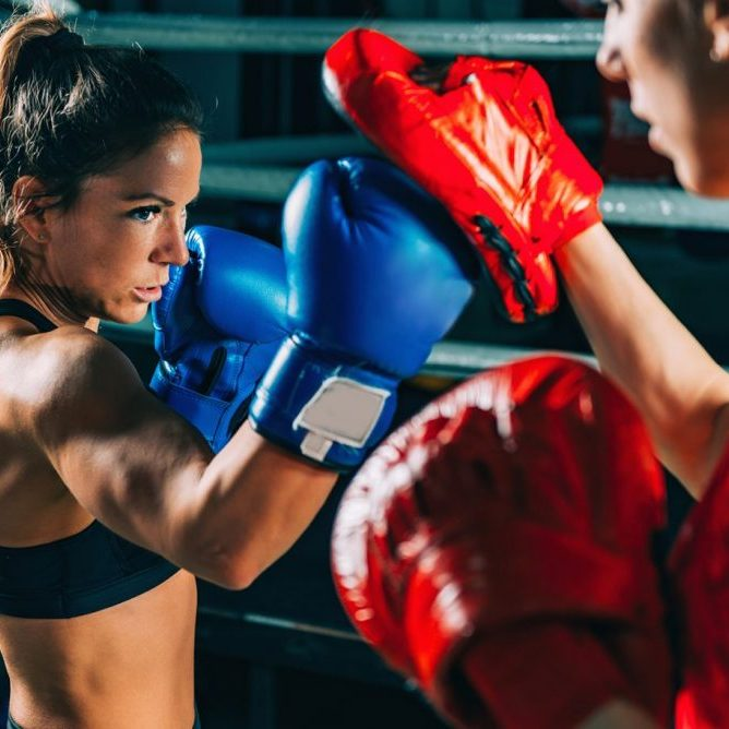 Women on boxing training